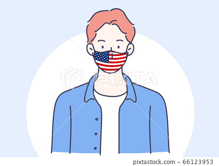 Masked man with a flag of the United States of America. Hand drawn in thin line style, vector illustrations. (A Mask can be removable) 66123953