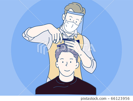 A Male hairdresser wearing face shield and haircut client, making haircut using metal scissors and comb. New Normal concept. Hand drawn in thin line style, vector illustration. 66123956