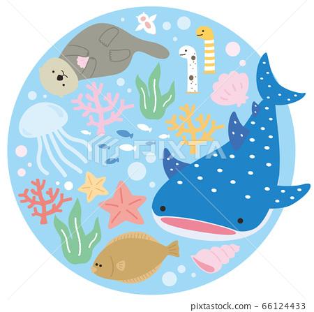 Cute aquarium aquarium fish round cut 66124433