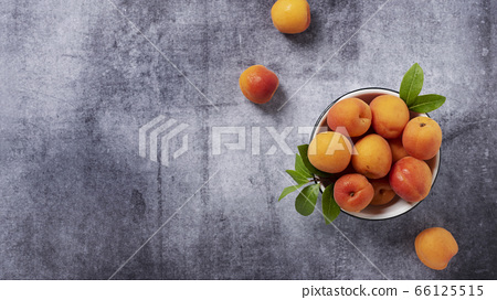 Sweet fresh apricots in the white bowl 66125515