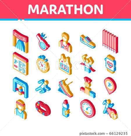 Marathon Isometric Elements Icons Set Vector 66129235