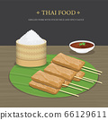 Set of Traditional Thai food, Grilled Pork with sticky rice and spicy sauce over banana leaf. Cartoon Vector illustration. 66129611