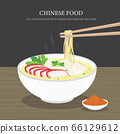 Set of Traditional Chinese food, Egg noodles soup with shrimp wontons and bbq pork. Cartoon Vector illustration  66129612