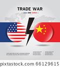 Concept of trade war between USA and China Flag Vector. 66129615