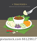 Set of Traditional Thai food, Shrimp Paste Chili Sauce (Nam Prik Ka Pi) with fresh vegetables. Cartoon Vector illustration. 66129617