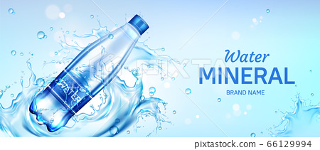 Mineral water bottle ad banner, flask with drink 66129994