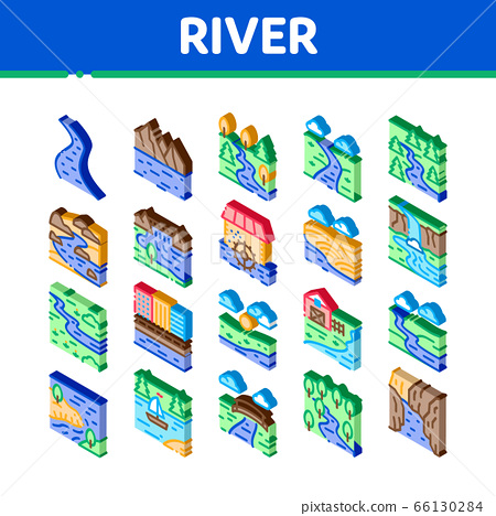 River Landscape Isometric Icons Set Vector 66130284