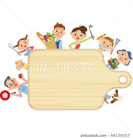 단짝 세 가족 요리 도마 가로 프레임 66130357