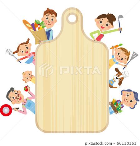 단짝 세 가족 요리 도마 세로 프레임 66130363