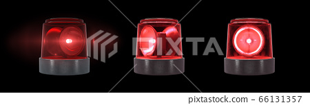 3d render Red warning light with flare on a black background 66131357