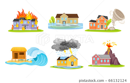 Houses Undergoing Natural Disasters Like Fire and Tornado Vector Set 66132124
