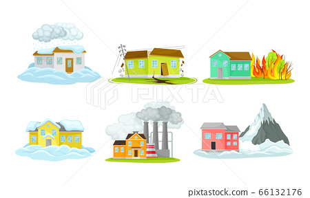 Houses Undergoing Natural Disasters Like Fire and Avalanche Vector Set 66132176