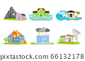 Houses Undergoing Natural Disasters Like Fire and Tornado Vector Set 66132178