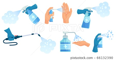 Disinfection spray in hand. Hands sanitizer, sprayed antiseptic and disinfectant container. Medical virus protection spray vector illustration set 66132390