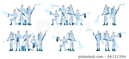 Antiviral disinfection. People wearing protective suits and face masks use sanitizer spray. Disinfection team, Coronavirus protection cartoon vector illustration set 66132394