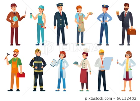 Professional workers. Different jobs professionals, labor people and workers cartoon vector illustration set 66132402