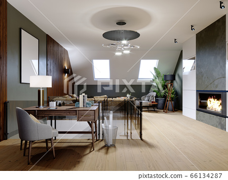 A modern attic with a living space, a sitting area 66134287