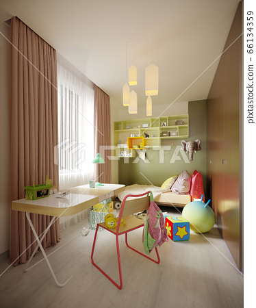 A multi-colored children's room with a bed and a 66134359