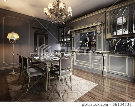 Modern Vintage Retro Kitchen Design With Black Stock Illustration 66134535 Pixta