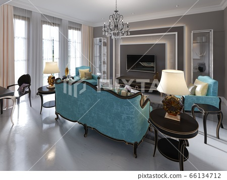 Modern art deco style living room with trendy 66134712