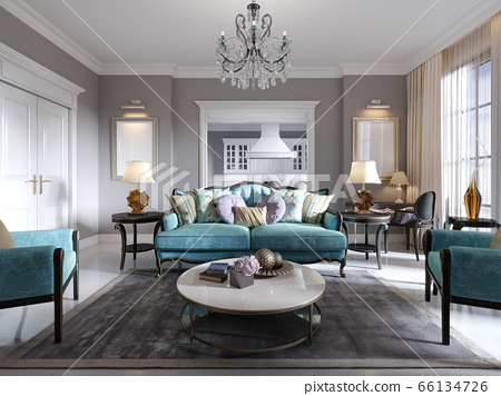 Modern Art Deco Style Living Room With, Art Deco Living Room