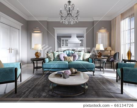 Modern Art Deco Style Living Room With Trendy Stock Illustration 66134726 Pixta
