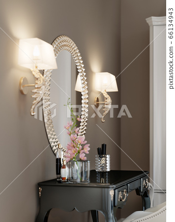 A Round Mirror With A Golden Rim On The Wall Two Stock Illustration 66134943 Pixta
