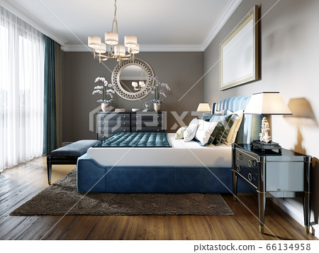 A modern bedroom in an eclectic style. With a 66134958