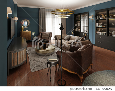 A modern eclectic living room in dark colors, with 66135025