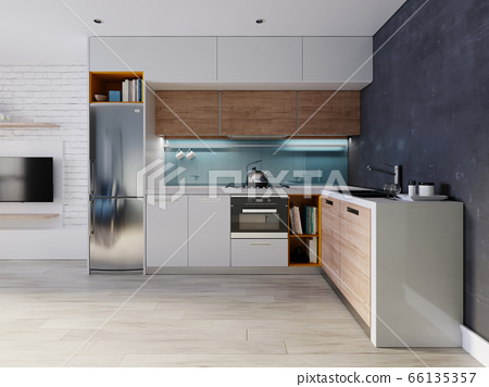 Kitchen in blue and white color with a dining 66135357