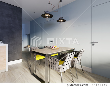 Dining metal table with decor and four designer 66135435