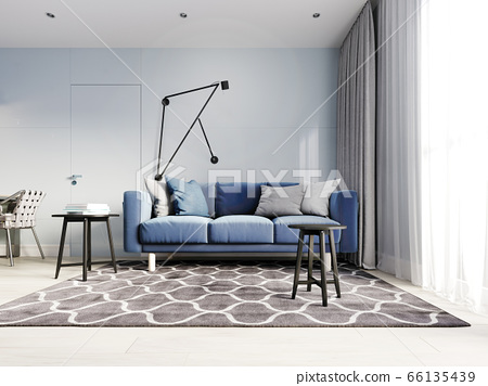 Nordic Design Living Room With A Modern Blue Sofa Stock Illustration 66135439 Pixta
