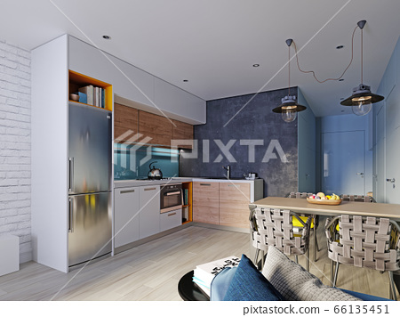 Kitchen in blue and white color with a dining 66135451