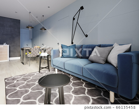 Nordic Design Living Room With A Modern Blue Sofa Stock Illustration 66135458 Pixta