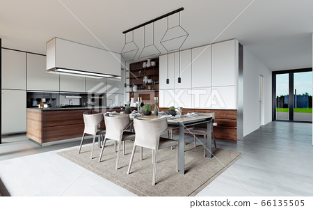 Design dining table set in the kitchen. 66135505