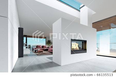 Modern fireplace with live fire between the living 66135513