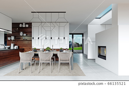 Design dining table set in the kitchen. 66135521