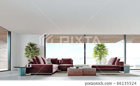 Living room with a large pink sofa and a TV unit 66135524