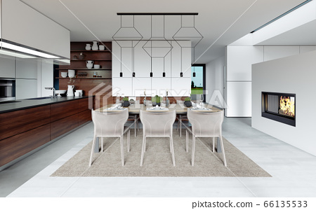 Design dining table set in the kitchen. 66135533