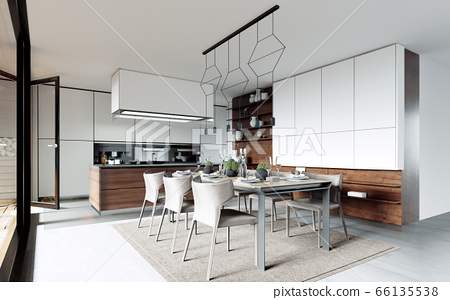Design dining table set in the kitchen. 66135538