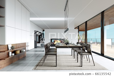 Design dining table set in the kitchen. 66135542