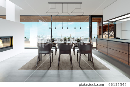Design dining table set in the kitchen. 66135543