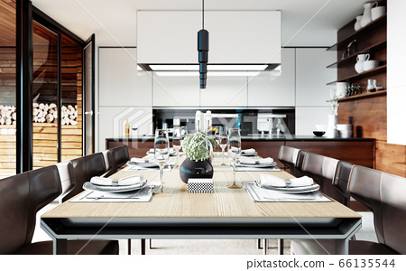 Design dining table set in the kitchen. 66135544
