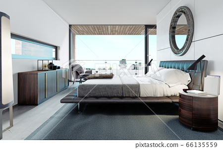 Modern designer bedroom in Scandinavian style, 66135559