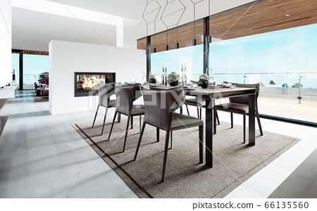 Design dining table set in the kitchen. 66135560