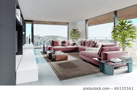 Living room with a large pink sofa and a TV unit 66135561