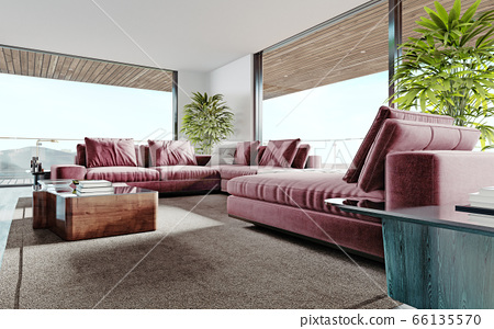 Living room with a large pink sofa and a TV unit 66135570