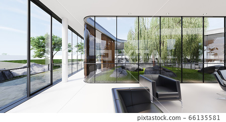 Meeting room with a large white table and black 66135581