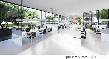 Office space with large panoramic windows and many 66135585
