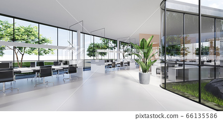 Office space with large panoramic windows and many 66135586